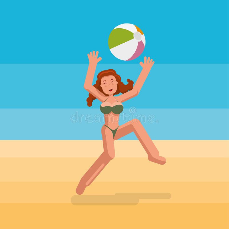 Bikiniflicka som spelar bollen på stranden royaltyfri illustrationer