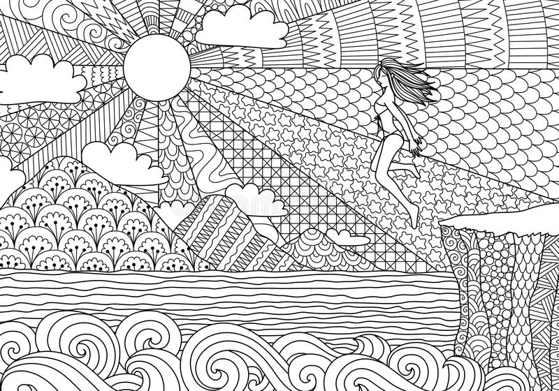 Bikiniflickabanhoppning vektor illustrationer