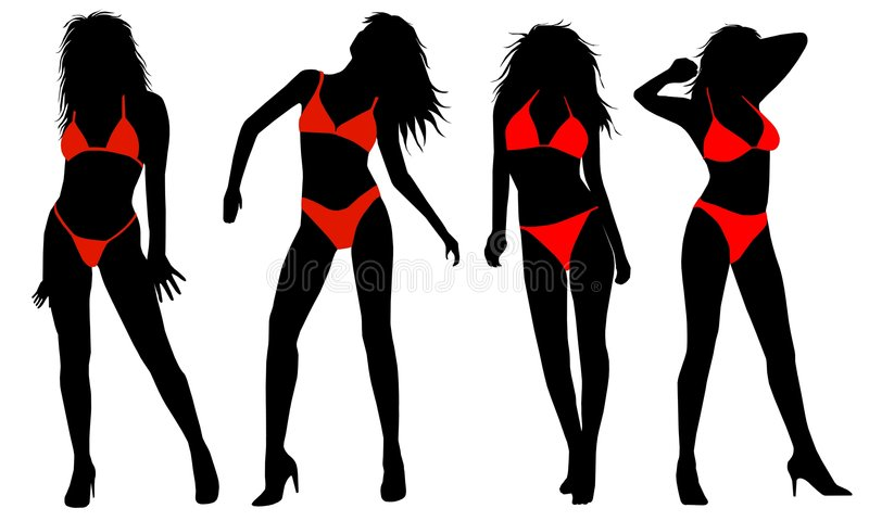 bikiniflickasilhouette royaltyfri illustrationer