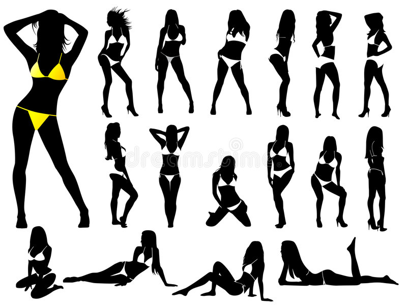 bikinis girls vector stock illustrationer