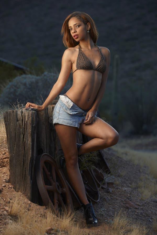Bikiniskönhet utomhus royaltyfri foto