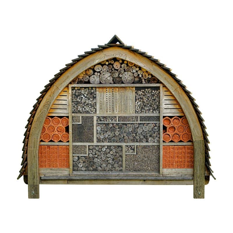 Bikupa för Wood hus för bihotellträdgård royaltyfria foton