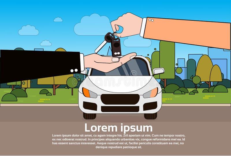 Bilåterförsäljare som ger tangenter till nya ägaren över medlet på vägbakgrund som köper auto begrepp royaltyfri illustrationer