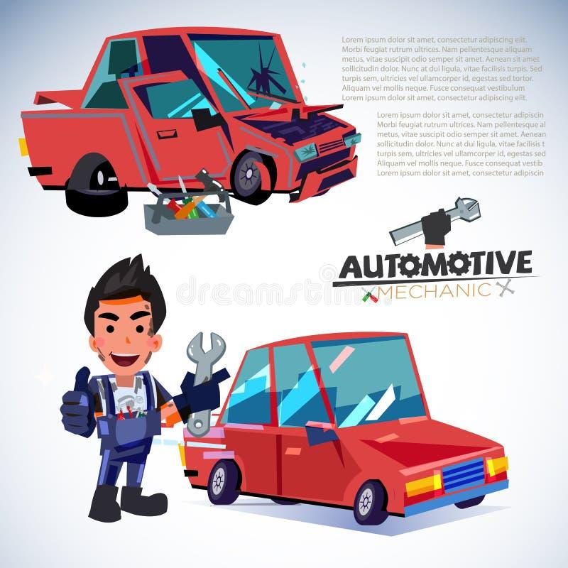 Bilåterställande För och after bilknipa av den automatiska mekanikern ch stock illustrationer