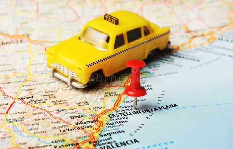 Bil för Castellon de la Plana översiktstaxi royaltyfri foto