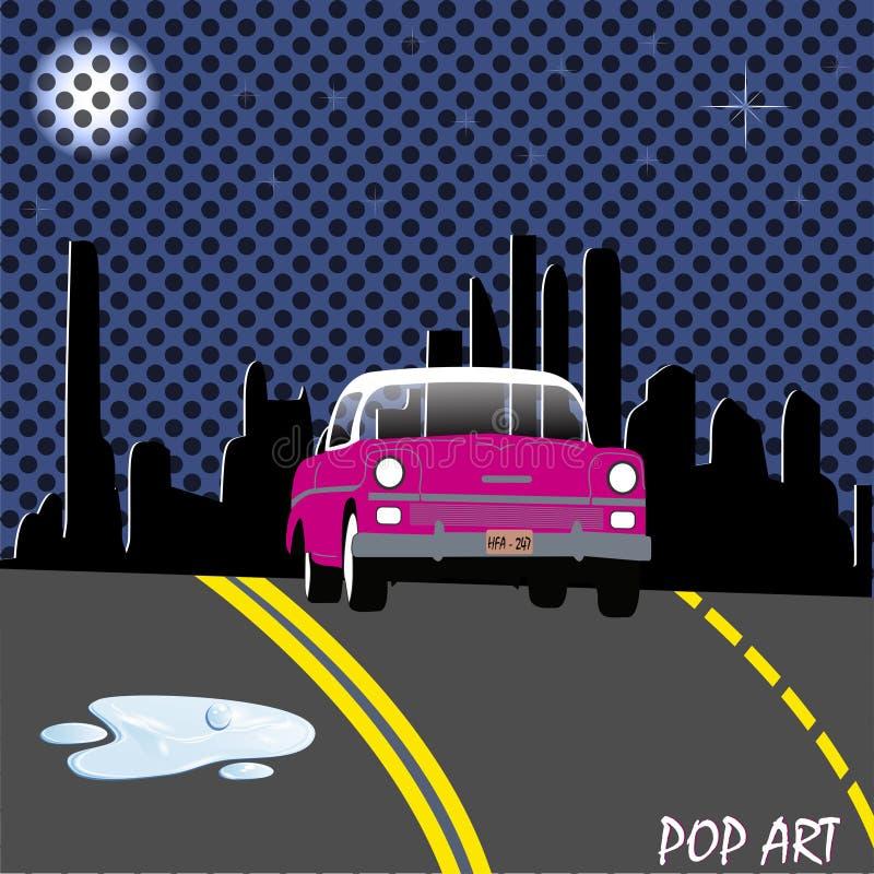 Bil för gata för popkonst stock illustrationer