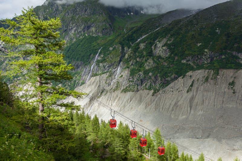 Bil för ishavsMer de glaces kabel som tar till isgrottan i Chamonix - Frankrike royaltyfri foto