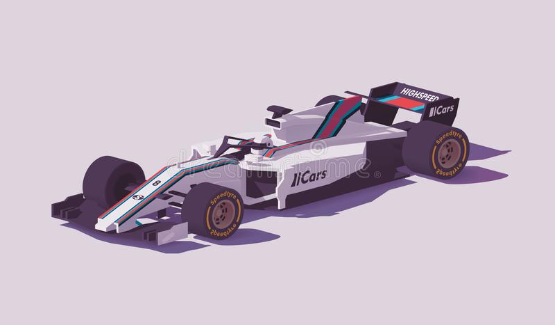 Bil för låg poly formel för vektor tävlings- royaltyfri illustrationer