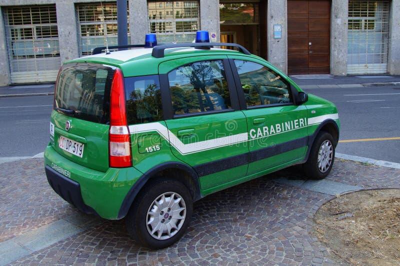 Bil för polisen italienareCarabinieri för den militära polisen, Fiat Panda royaltyfria foton