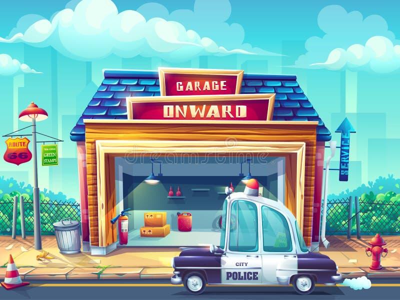 Bil för polisen för vektorillustrationbild royaltyfri illustrationer