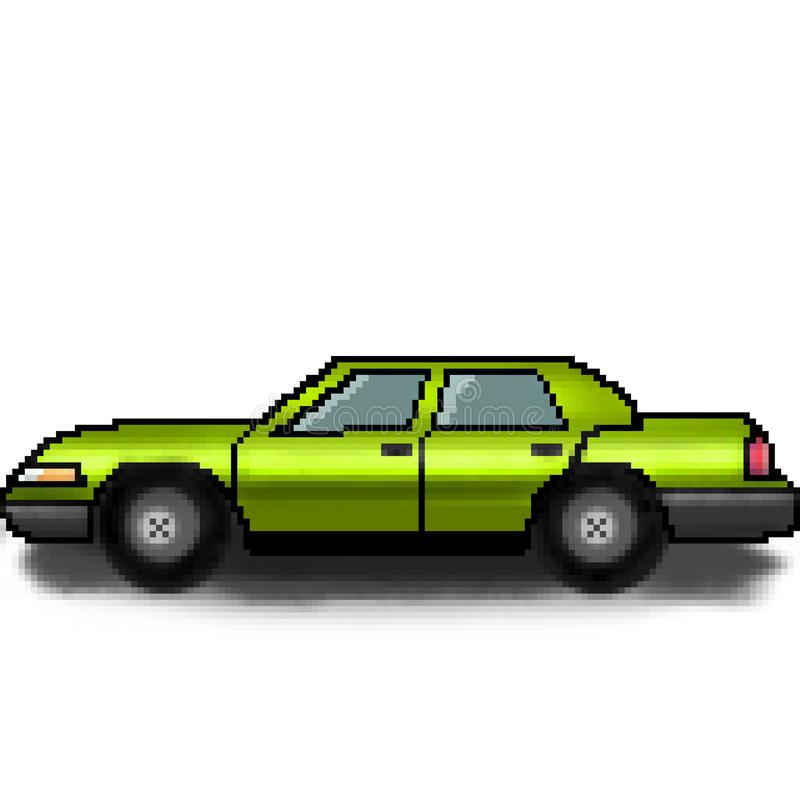Bil för utdragen passagerare för bit för PIXEL 8 mångfärgad royaltyfri illustrationer