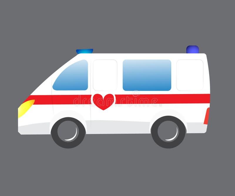 Bil för vektorillustrationambulans Auto paramedicinskt nödläge för ambulans Evakuering för ambulansmedelläkarundersökning cartoon royaltyfri illustrationer