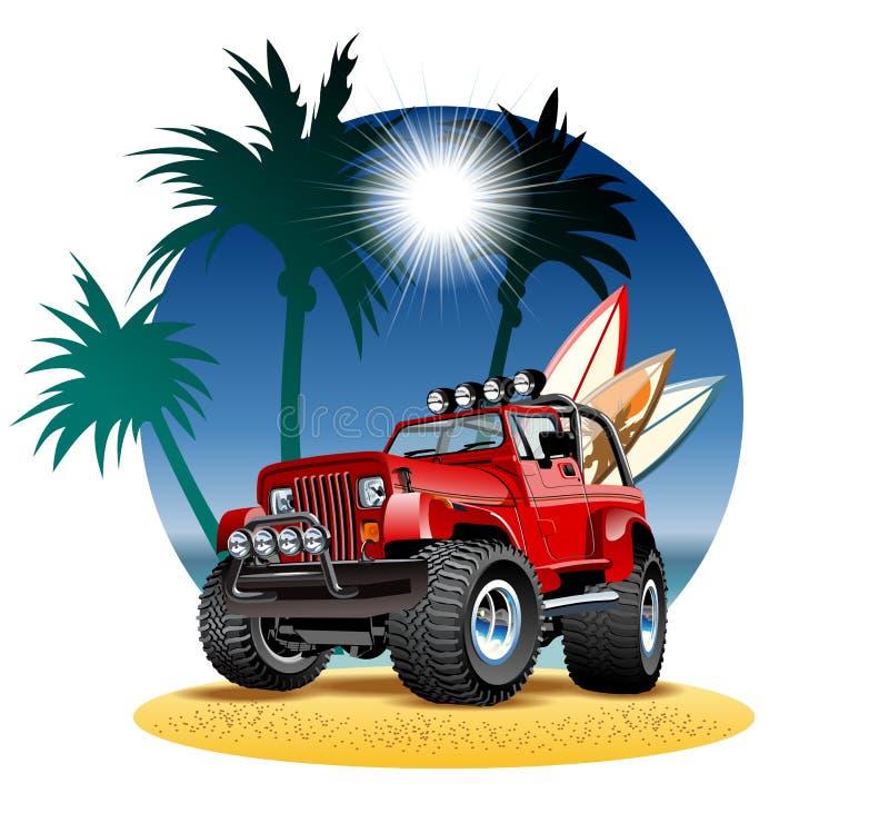 Bil för vektortecknad film 4x4 på stranden royaltyfri illustrationer