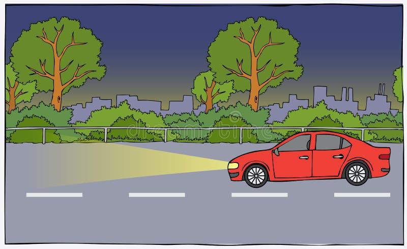 Bil från sidan i natten stock illustrationer