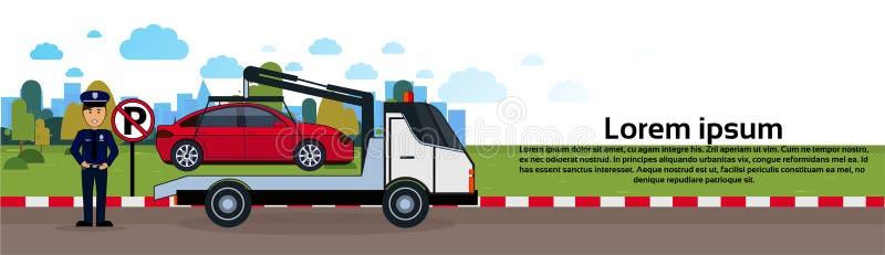 Bil, i att bogsera bort zon av banret för sikt för parkeringsmedelevakuering horisontal vektor illustrationer