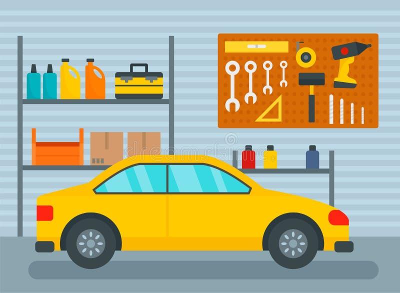 Bil i hem- garagebakgrund, lägenhetstil vektor illustrationer