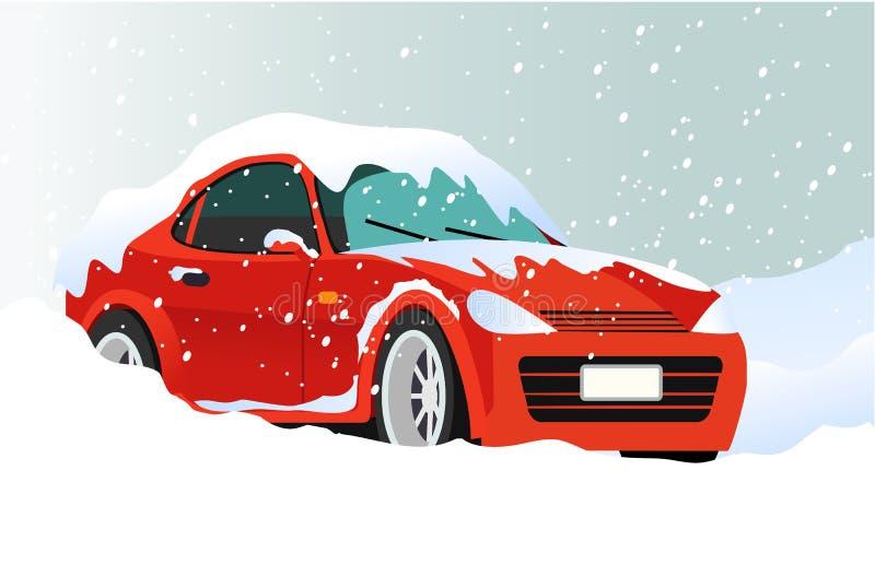Bil i snow vektor illustrationer