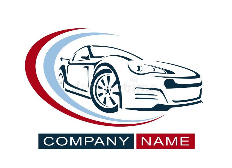 Bil Logo Design Idérik vektorsymbol också vektor för coreldrawillustration royaltyfri illustrationer