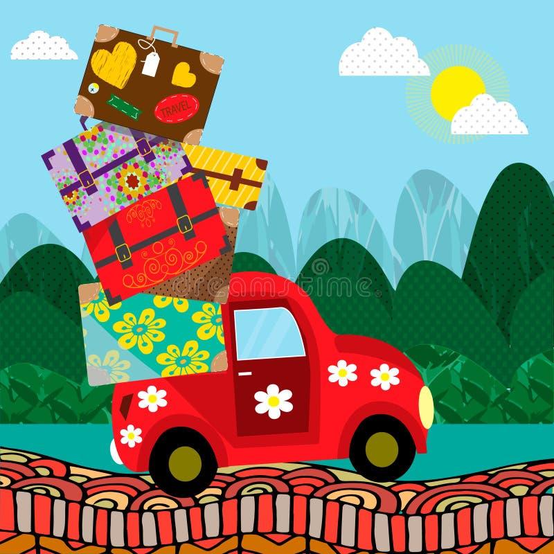 Bil med bagage som går till turen också vektor för coreldrawillustration målning för mapp för borste eps10 mångfärgad royaltyfri illustrationer