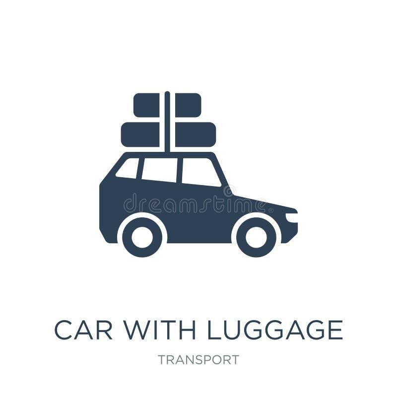 bil med bagagesymbolen i moderiktig designstil bil med bagagesymbolen som isoleras på vit bakgrund bil med bagagevektorsymbolen vektor illustrationer