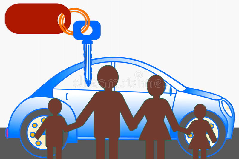 Bil med den nyckel- den affärsidésymbolen och familjen vektor illustrationer
