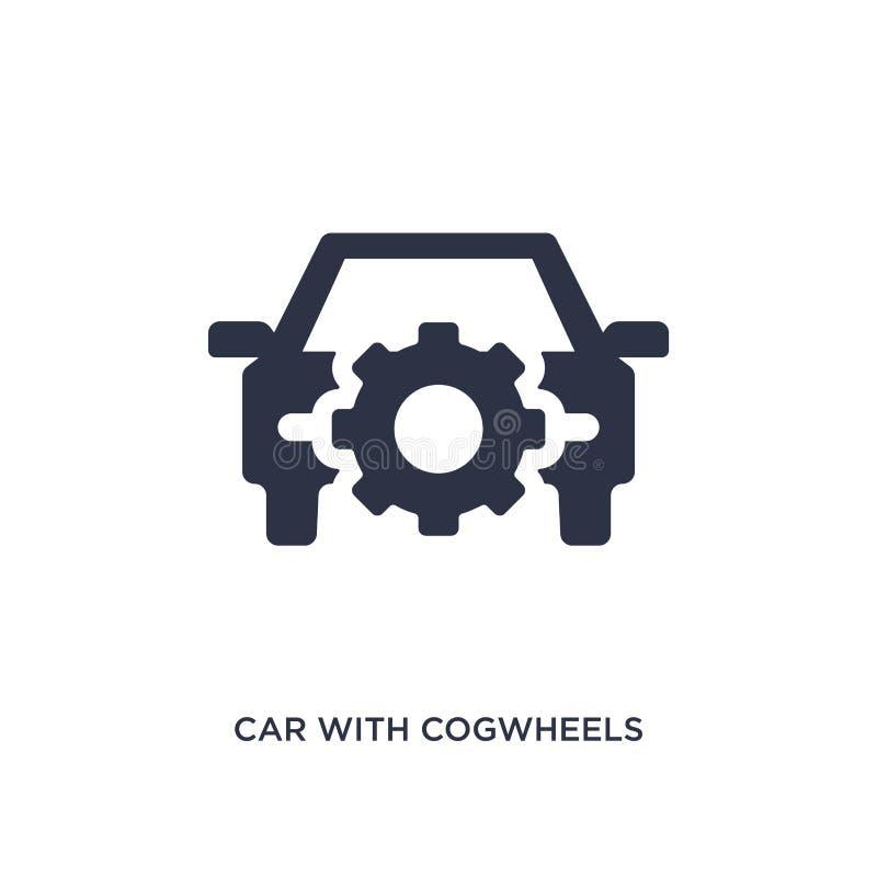 bil med kugghjulsymbolen på vit bakgrund Enkel beståndsdelillustration från mechaniconsbegrepp stock illustrationer