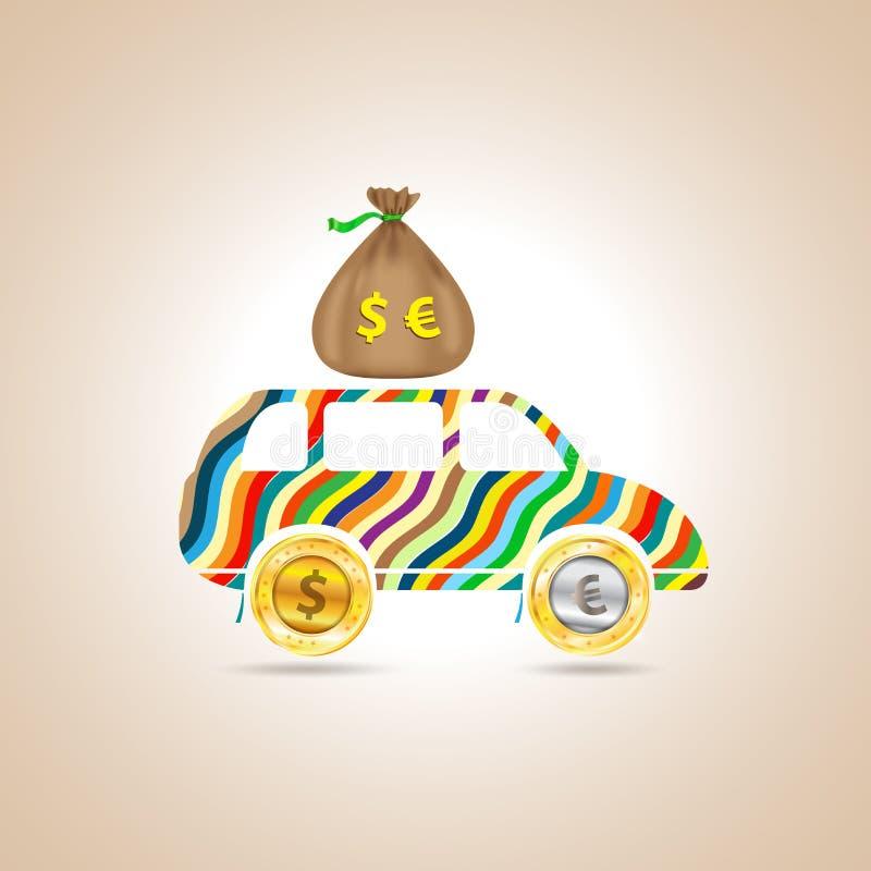 Bil med pengar också vektor för coreldrawillustration royaltyfri illustrationer