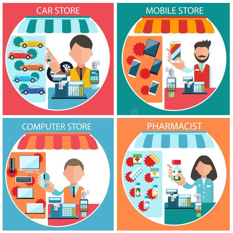 Bil-, mobil-, apotekare- och datorlager royaltyfri illustrationer