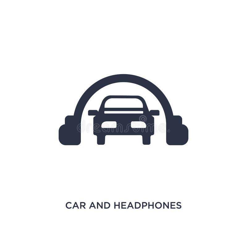 bil- och hörlurarsymbol på vit bakgrund Enkel beståndsdelillustration från mechaniconsbegrepp vektor illustrationer