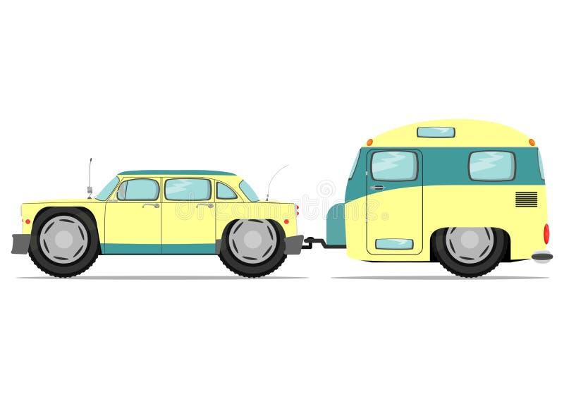 Bil och husvagn stock illustrationer