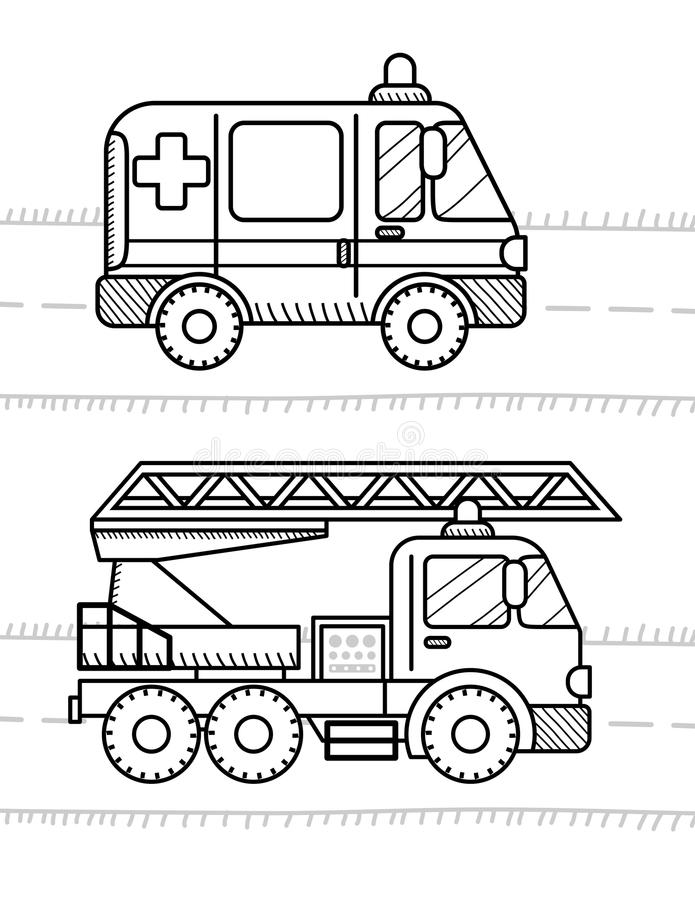 Bil- och medelfärgläggningbok för dina ungar Ambulans brand T stock illustrationer