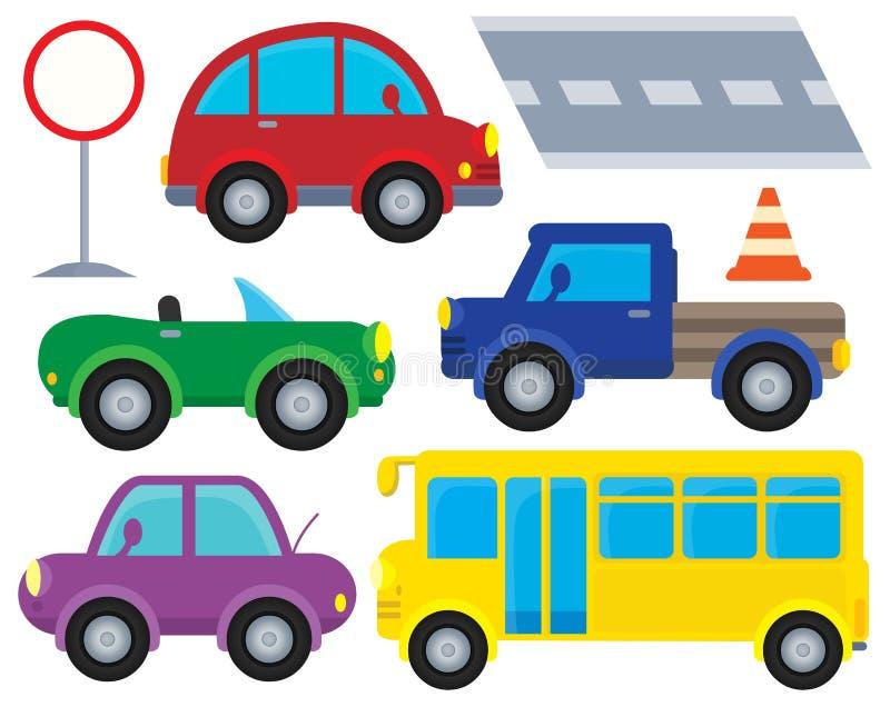 Bil- och trans.temauppsättning 1 stock illustrationer
