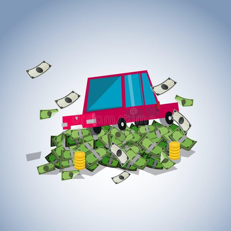 Bil på pengarbunten, skuldbegrepp - stock illustrationer
