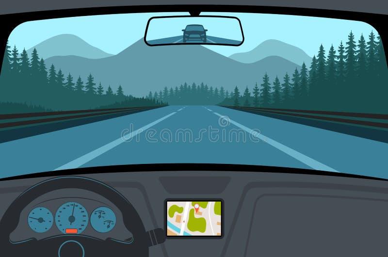 Bil på vägen, en sikt från salong stock illustrationer