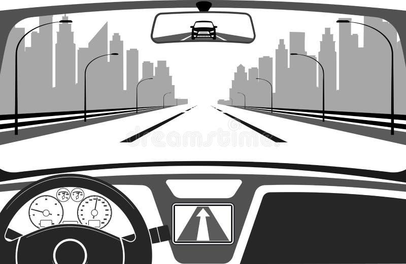 Bil på vägen, en sikt från salong royaltyfri illustrationer