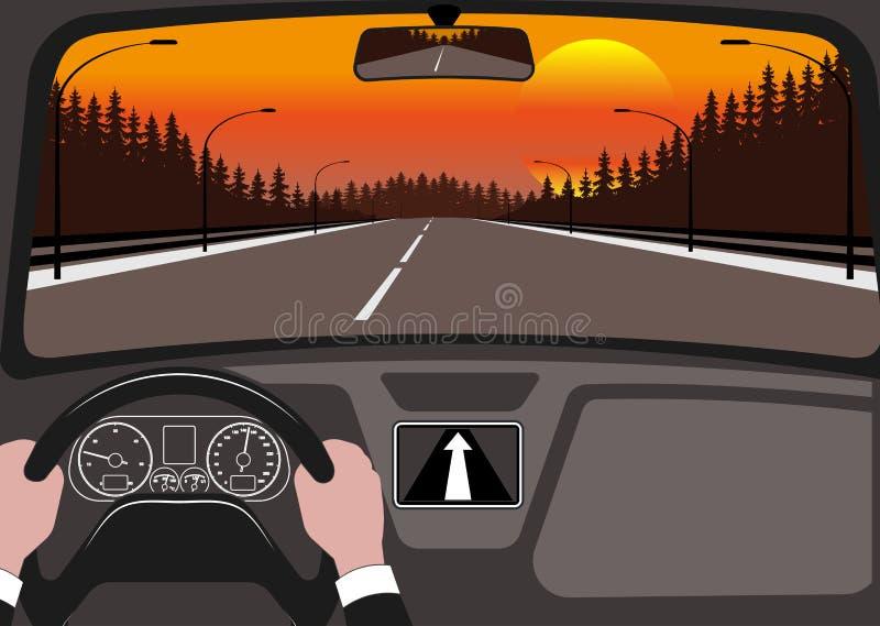 Bil på vägen, en sikt från salong vektor illustrationer