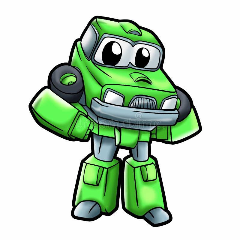 Bil- robotar för grön robot för ungar - robottecknad film royaltyfri illustrationer