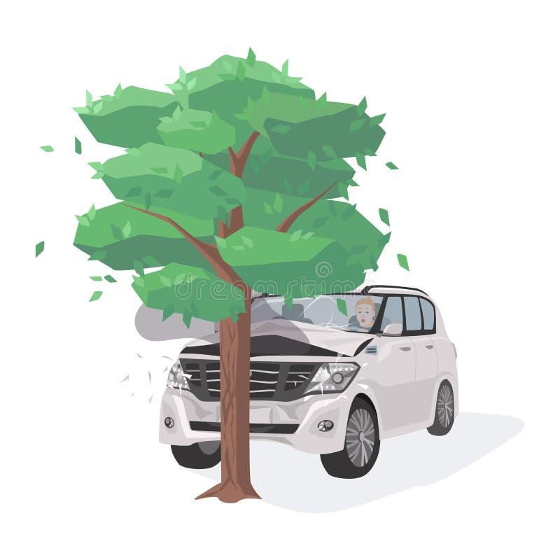 Bil som är skadad, genom att kollidera med trädet Körning-av-väg sammanstötning Trafik eller motorfordonolycks- eller bilkrasch stock illustrationer