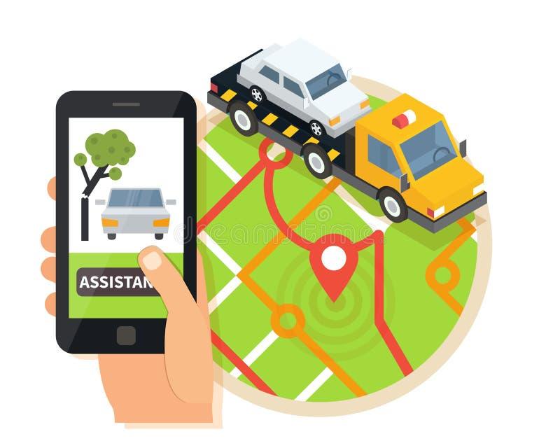 Bil som bogserar lastbilen, online-vägrenhjälp Evacuator i mobilen app Plan designillustration royaltyfri illustrationer