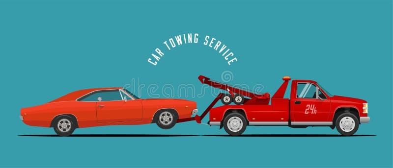 Bil som bogserar lastbilserviceillustrationen med att bogsera lastbilen och bilen Ready gjord illustration för din affär också ve royaltyfri illustrationer