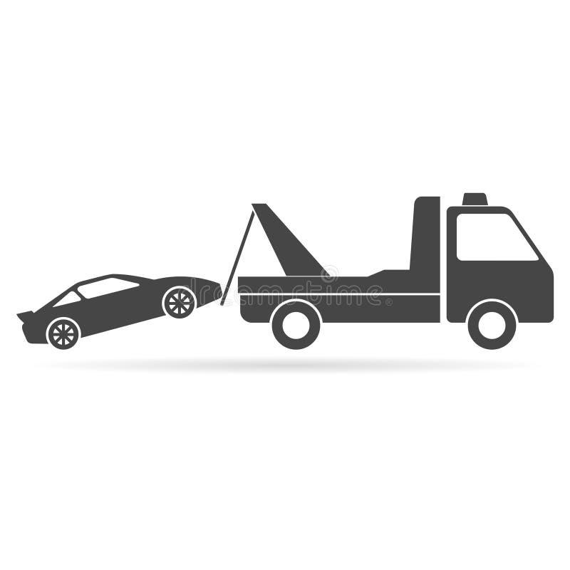 Bil som bogserar lastbilsymbolen vektor illustrationer