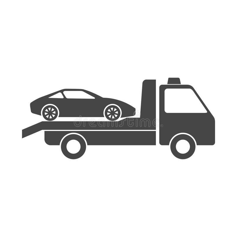 Bil som bogserar lastbilsymbolen royaltyfri illustrationer