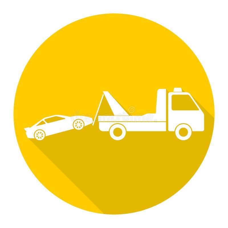 Bil som bogserar lastbilsymbolen med lång skugga vektor illustrationer