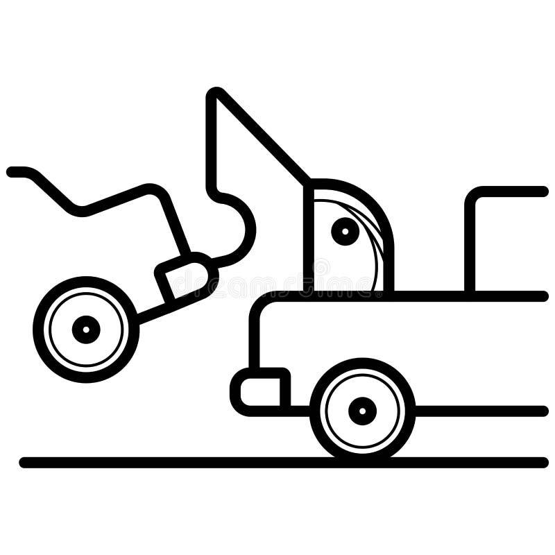 Bil som bogserar lastbilsymbolen vektor vektor illustrationer