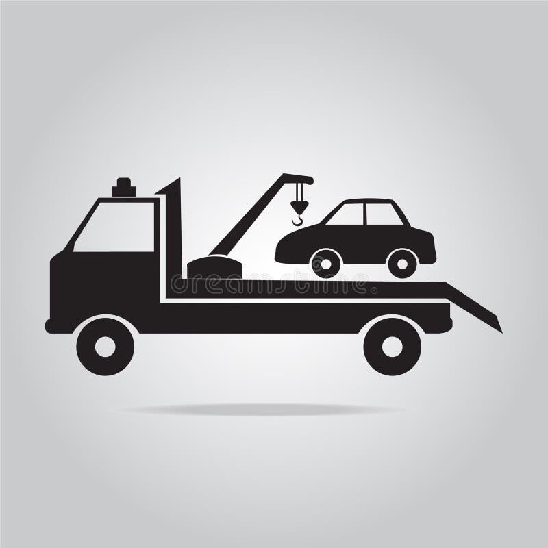 Bil som bogserar lastbilsymbolsillustrationen royaltyfri illustrationer
