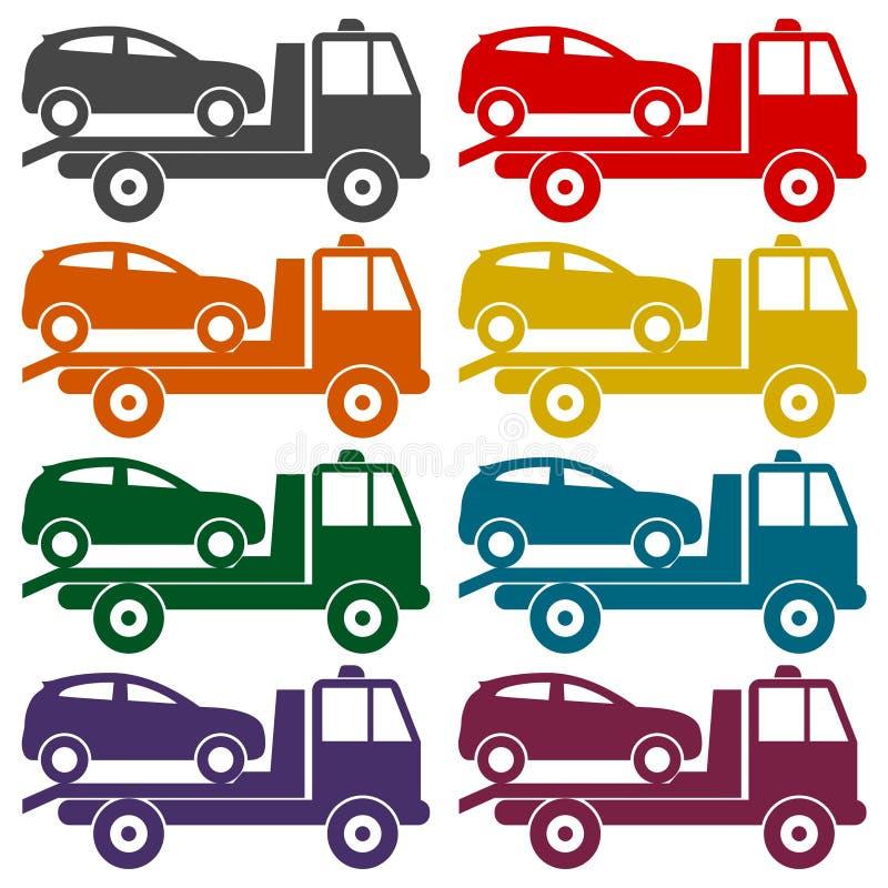 Bil som bogserar lastbilsymbolsuppsättningen vektor illustrationer