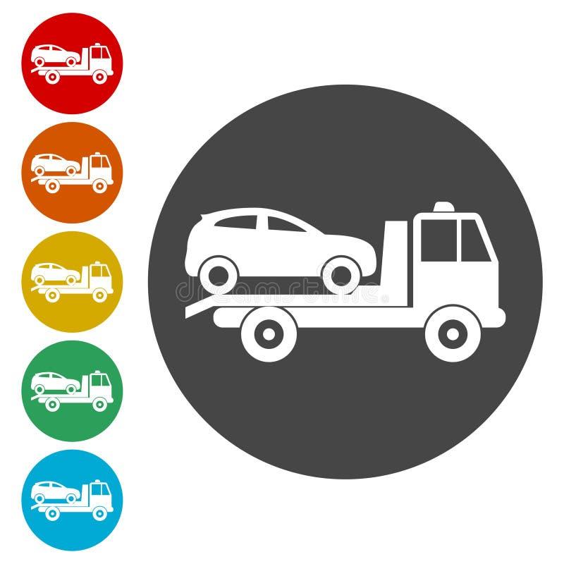 Bil som bogserar lastbilsymbolsuppsättningen royaltyfri illustrationer