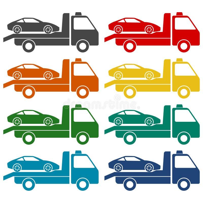 Bil som bogserar lastbilsymbolsuppsättningen stock illustrationer