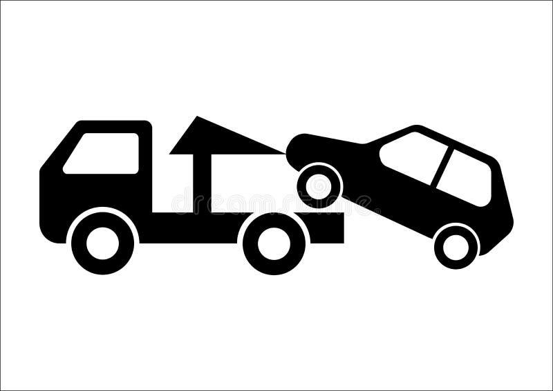 Bil som bogserar lastbilvektorillustrationen på vit bakgrund royaltyfri illustrationer