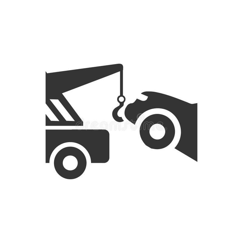 Bil som bogserar symbolen stock illustrationer